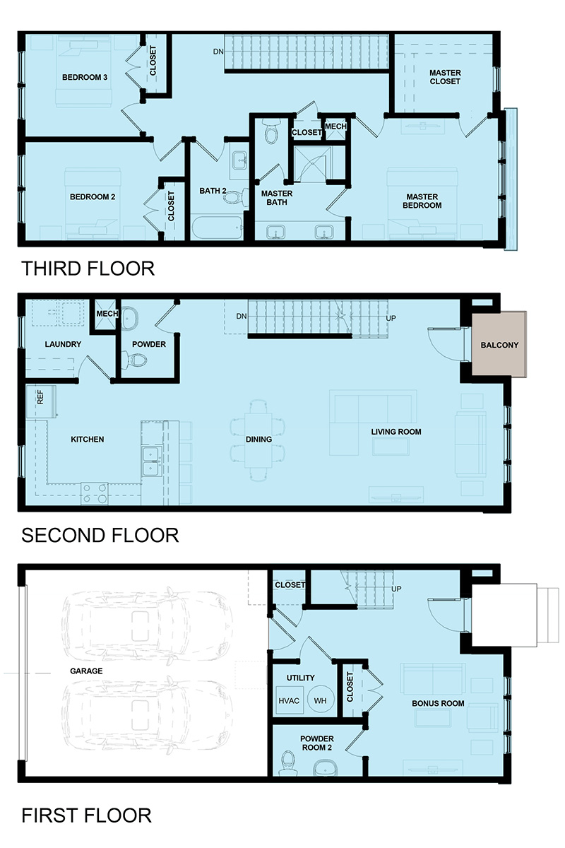 James Vernon Townhomes - 2AVES - Marketing Elevations - Unit 2 Floor Plan 2A