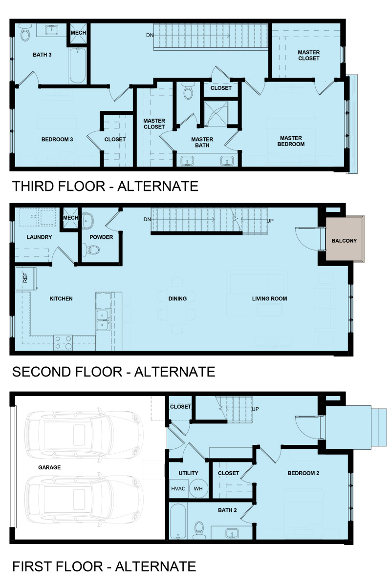 James Vernon Townhomes - 2AVES - Marketing Elevations - Unit 2 Floor Plan 2B