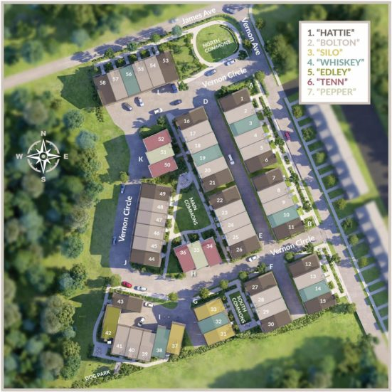 View the 2AVES Community Plan for an overhead view of this townhome development in Nashville.